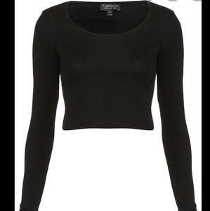 Topshop black long sleeve crop top US4